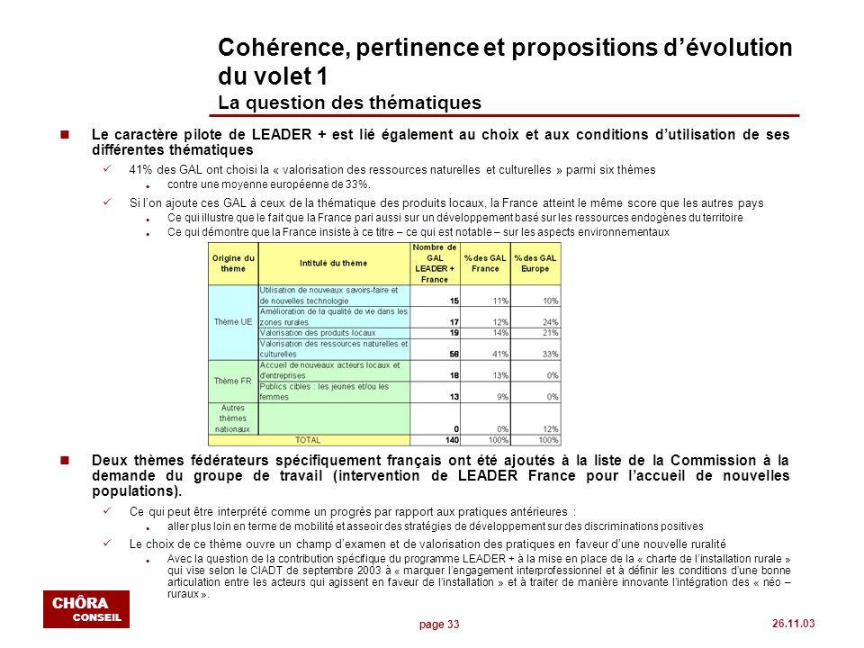 page 33 CHÔRA CONSEIL 26.11.03 Cohérence, pertinence et propositions dévolution du volet 1 La question des thématiques nLe caractère pilote de LEADER