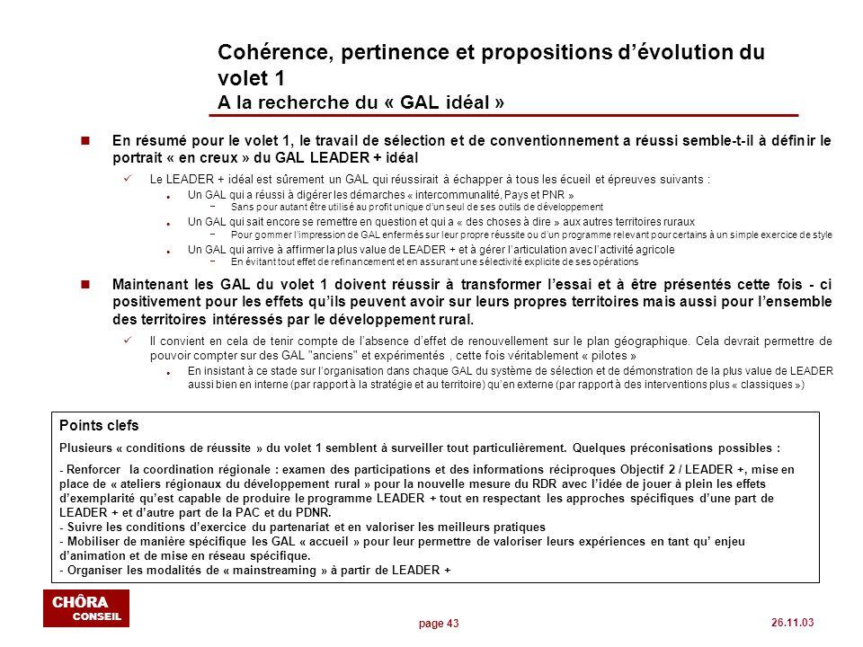 page 43 CHÔRA CONSEIL 26.11.03 Cohérence, pertinence et propositions dévolution du volet 1 A la recherche du « GAL idéal » nEn résumé pour le volet 1,