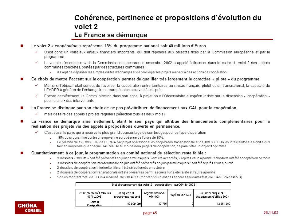 page 45 CHÔRA CONSEIL 26.11.03 Cohérence, pertinence et propositions dévolution du volet 2 La France se démarque nLe volet 2 « coopération » représent