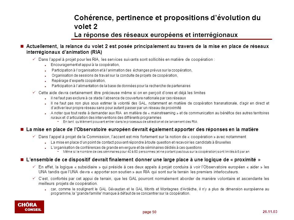 page 50 CHÔRA CONSEIL 26.11.03 Cohérence, pertinence et propositions dévolution du volet 2 La réponse des réseaux européens et interrégionaux nActuell