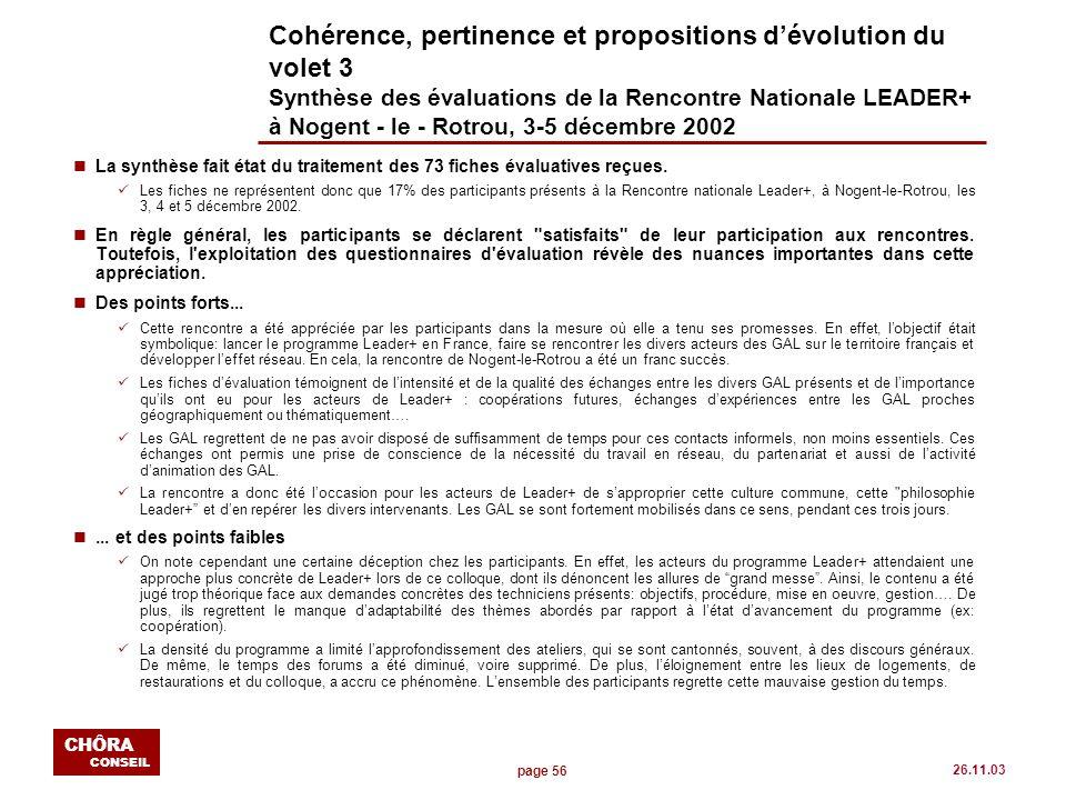 page 56 CHÔRA CONSEIL 26.11.03 Cohérence, pertinence et propositions dévolution du volet 3 Synthèse des évaluations de la Rencontre Nationale LEADER+