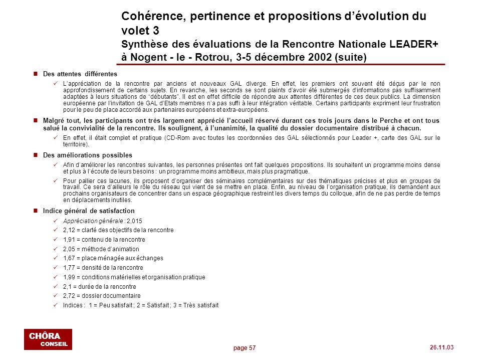 page 57 CHÔRA CONSEIL 26.11.03 Cohérence, pertinence et propositions dévolution du volet 3 Synthèse des évaluations de la Rencontre Nationale LEADER+