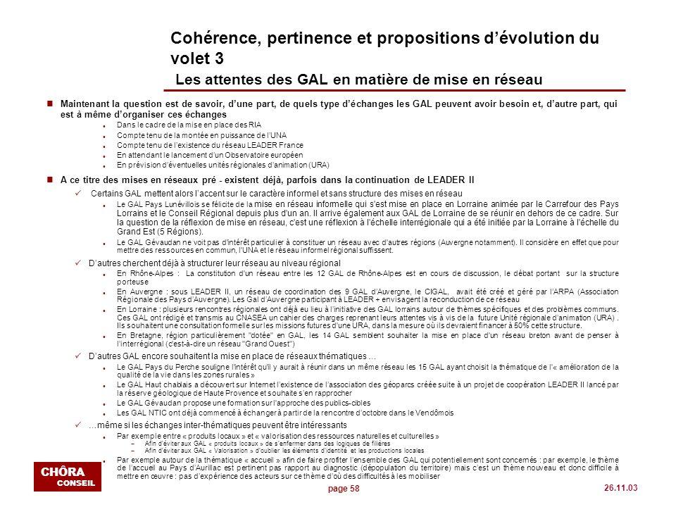 page 58 CHÔRA CONSEIL 26.11.03 Cohérence, pertinence et propositions dévolution du volet 3 Les attentes des GAL en matière de mise en réseau n Mainten