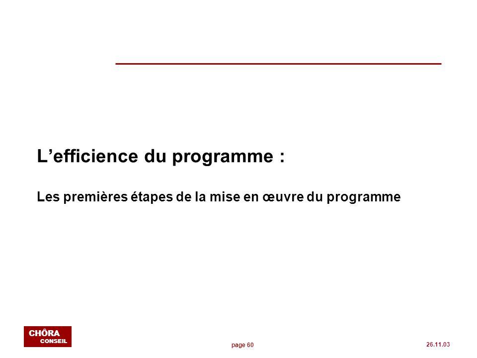 page 60 CHÔRA CONSEIL 26.11.03 Lefficience du programme : Les premières étapes de la mise en œuvre du programme