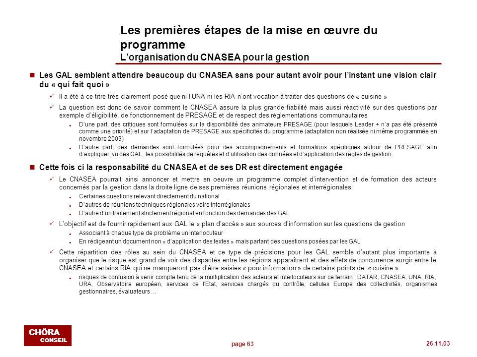 page 63 CHÔRA CONSEIL 26.11.03 Les premières étapes de la mise en œuvre du programme Lorganisation du CNASEA pour la gestion nLes GAL semblent attendr