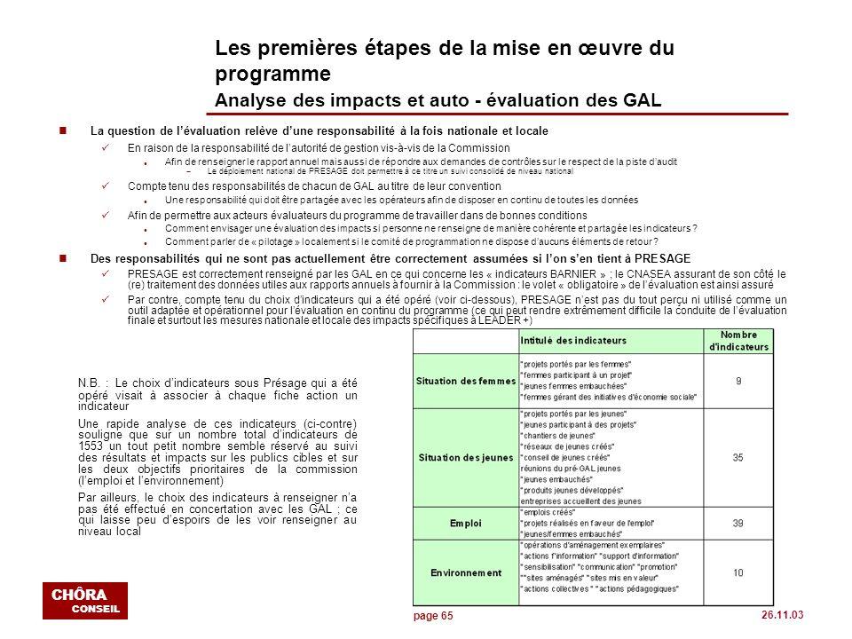 page 65 CHÔRA CONSEIL 26.11.03 Les premières étapes de la mise en œuvre du programme Analyse des impacts et auto - évaluation des GAL nLa question de