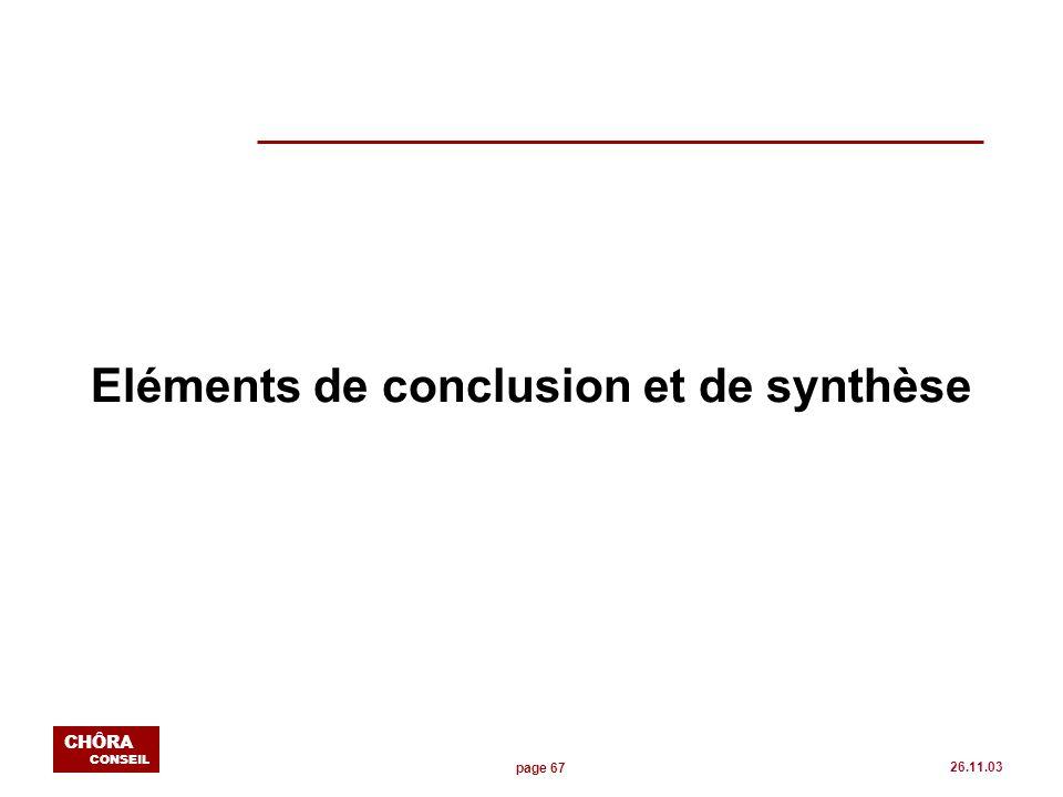 page 67 CHÔRA CONSEIL 26.11.03 Eléments de conclusion et de synthèse