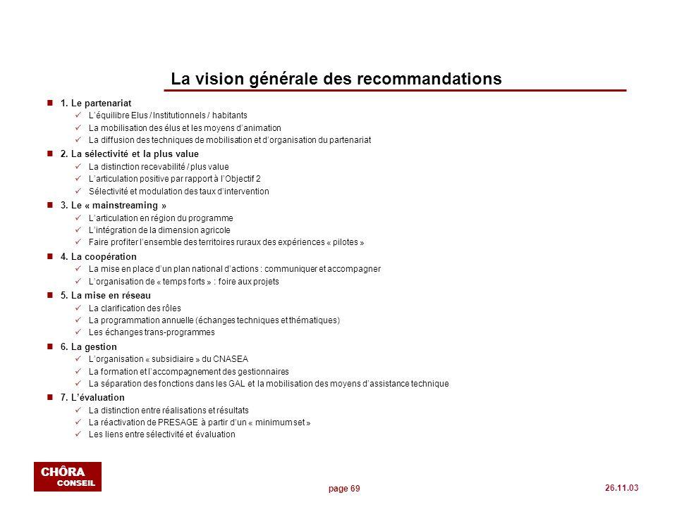 page 69 CHÔRA CONSEIL 26.11.03 La vision générale des recommandations n1. Le partenariat Léquilibre Elus / Institutionnels / habitants La mobilisation