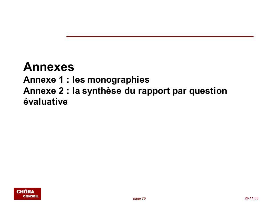 page 70 CHÔRA CONSEIL 26.11.03 Annexes Annexe 1 : les monographies Annexe 2 : la synthèse du rapport par question évaluative