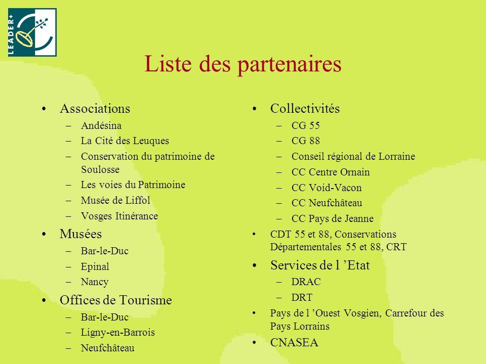 Liste des partenaires Associations –Andésina –La Cité des Leuques –Conservation du patrimoine de Soulosse –Les voies du Patrimoine –Musée de Liffol –Vosges Itinérance Musées –Bar-le-Duc –Epinal –Nancy Offices de Tourisme –Bar-le-Duc –Ligny-en-Barrois –Neufchâteau Collectivités –CG 55 –CG 88 –Conseil régional de Lorraine –CC Centre Ornain –CC Void-Vacon –CC Neufchâteau –CC Pays de Jeanne CDT 55 et 88, Conservations Départementales 55 et 88, CRT Services de l Etat –DRAC –DRT Pays de l Ouest Vosgien, Carrefour des Pays Lorrains CNASEA