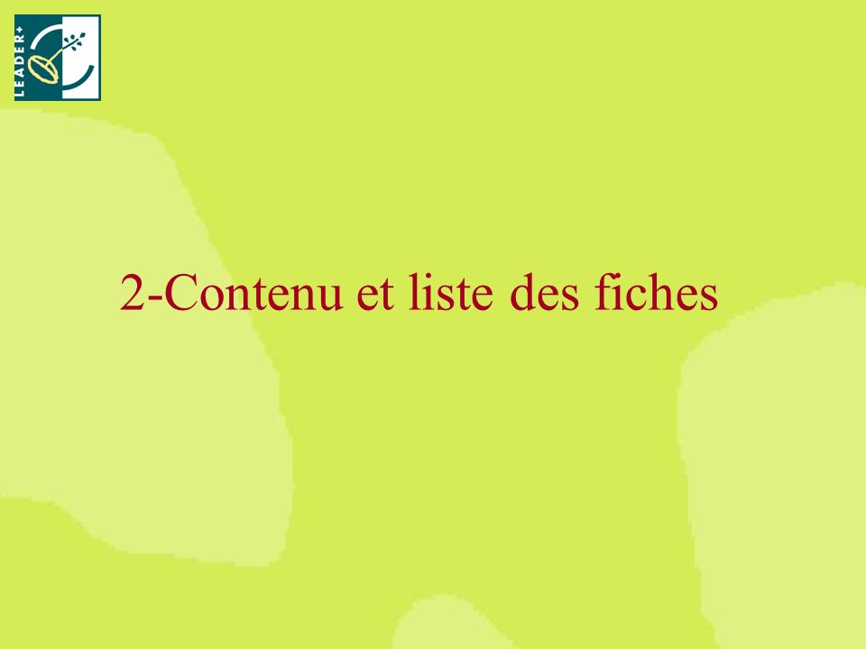 2-Contenu et liste des fiches