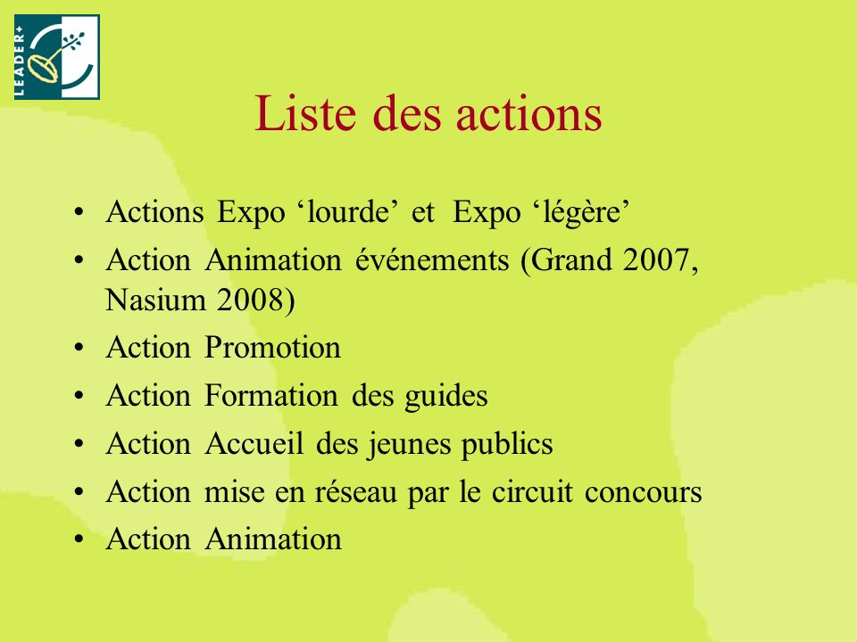 Liste des actions Actions Expo lourde et Expo légère Action Animation événements (Grand 2007, Nasium 2008) Action Promotion Action Formation des guides Action Accueil des jeunes publics Action mise en réseau par le circuit concours Action Animation