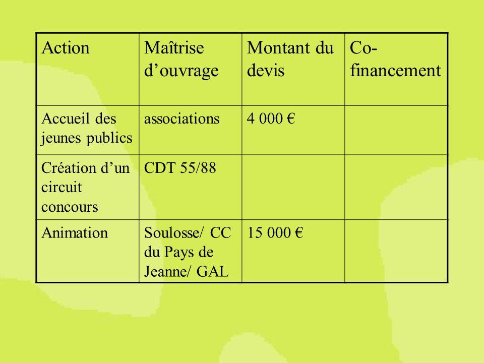 Maîtrise douvrage Montant du devis Co- financement Accueil des jeunes publics associations4 000 Création dun circuit concours CDT 55/88 AnimationSoulosse/ CC du Pays de Jeanne/ GAL 15 000