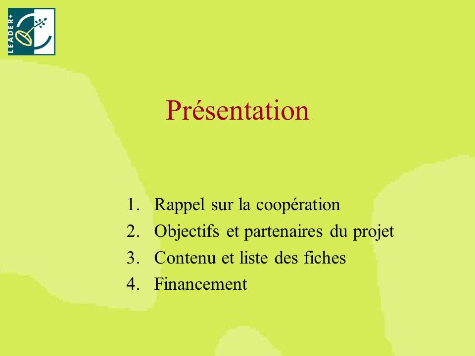 Présentation 1.Rappel sur la coopération 2.Objectifs et partenaires du projet 3.Contenu et liste des fiches 4.Financement