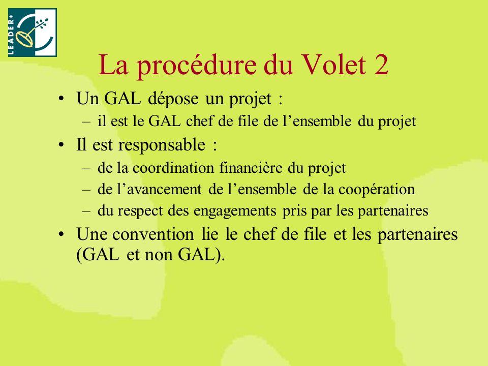 La procédure du Volet 2 Un GAL dépose un projet : –il est le GAL chef de file de lensemble du projet Il est responsable : –de la coordination financière du projet –de lavancement de lensemble de la coopération –du respect des engagements pris par les partenaires Une convention lie le chef de file et les partenaires (GAL et non GAL).