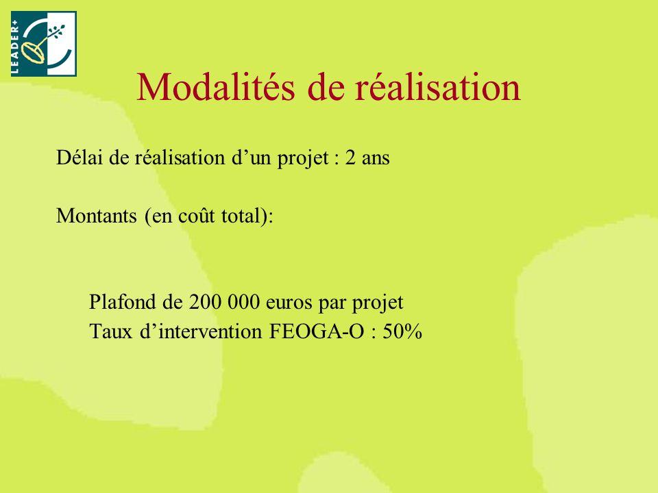 Modalités de réalisation Délai de réalisation dun projet : 2 ans Montants (en coût total): Plafond de 200 000 euros par projet Taux dintervention FEOGA-O : 50%