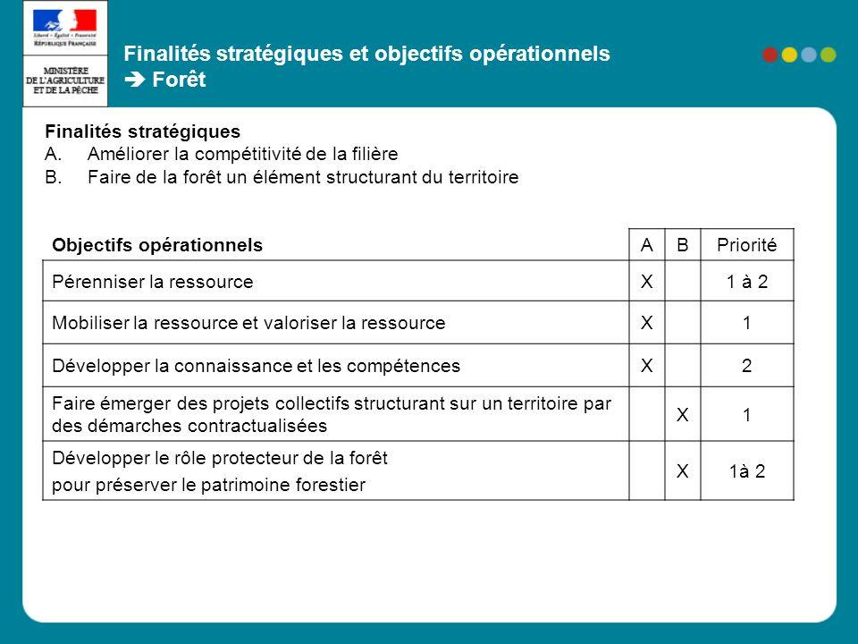 Finalités stratégiques et objectifs opérationnels Forêt Objectifs opérationnels ABPriorité Pérenniser la ressourceX1 à 2 Mobiliser la ressource et val
