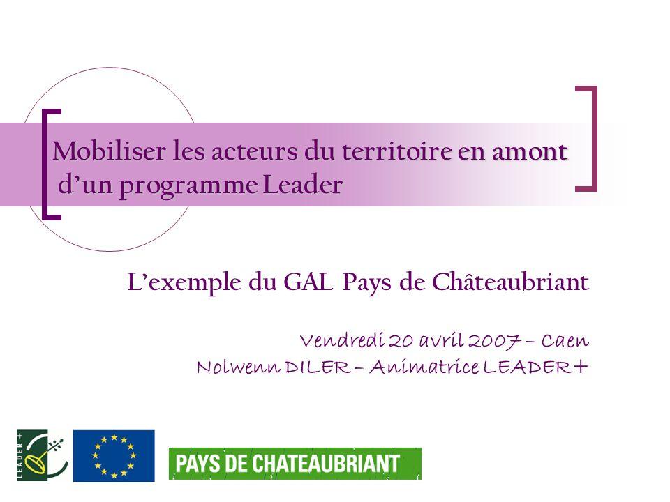Mobiliser les acteurs du territoire en amont dun programme Leader Lexemple du GAL Pays de Châteaubriant Vendredi 20 avril 2007 – Caen Nolwenn DILER –