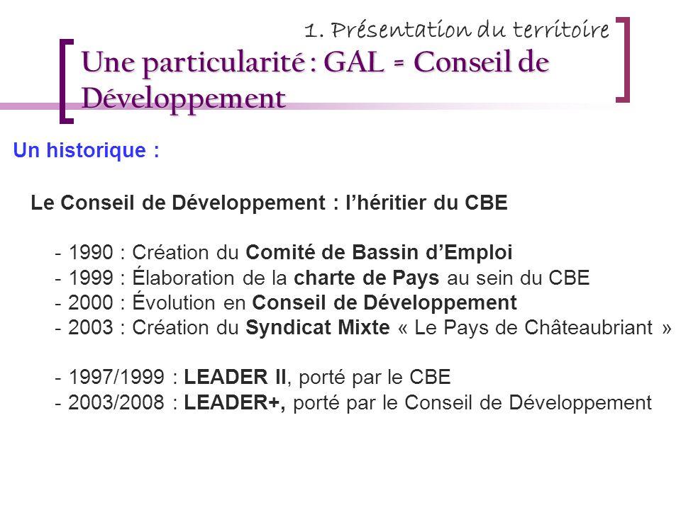 Une particularité : GAL = Conseil de Développement Un historique : - Le Conseil de Développement : lhéritier du CBE -1990 : Création du Comité de Bass