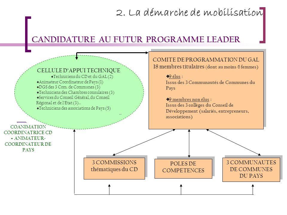 2. La démarche de mobilisation CANDIDATURE AU FUTUR PROGRAMME LEADER COANIMATION COORDINATRICE CD + ANIMATEUR- COORDINATEUR DE PAYS COMITE DE PROGRAMM