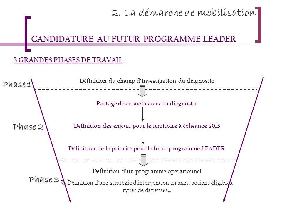 CANDIDATURE AU FUTUR PROGRAMME LEADER Définition du champ dinvestigation du diagnostic Partage des conclusions du diagnostic Définition des enjeux pou