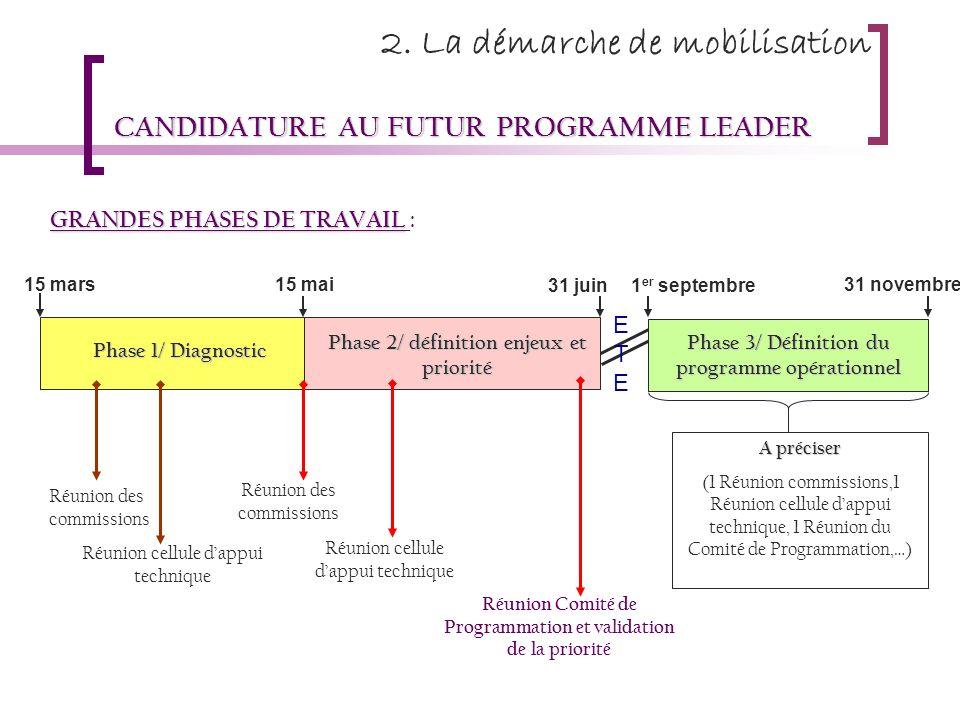 CANDIDATURE AU FUTUR PROGRAMME LEADER GRANDES PHASES DE TRAVAIL GRANDES PHASES DE TRAVAIL : Phase 1/ Diagnostic Phase 2/ définition enjeux et priorité