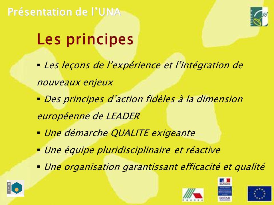 5 Les principes Les leçons de lexpérience et lintégration de nouveaux enjeux Des principes daction fidèles à la dimension européenne de LEADER Une démarche QUALITE exigeante Une équipe pluridisciplinaire et réactive Une organisation garantissant efficacité et qualité Présentation de lUNA
