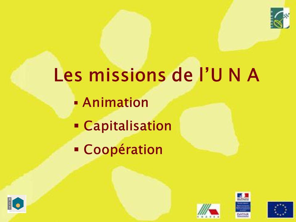Animation Préparer la mise en place des réseaux - animer et coordonner leurs travaux Promouvoir le programme LEADER + et animer le réseau des GAL Participer aux concertations prévues au niveau national et européen Les missions de lUNA
