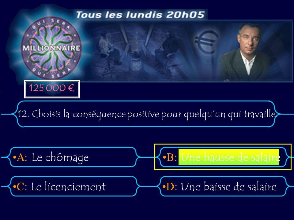 A:B: D:C: 12. Choisis la conséquence positive pour quelquun qui travaille. Le chômage Le licenciementUne baisse de salaire Une hausse de salaire 125 0