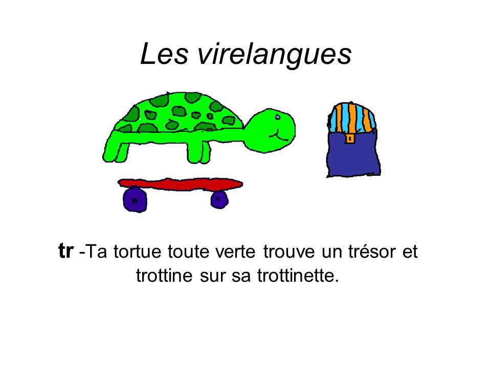 Les virelangues tr -Ta tortue toute verte trouve un trésor et trottine sur sa trottinette.