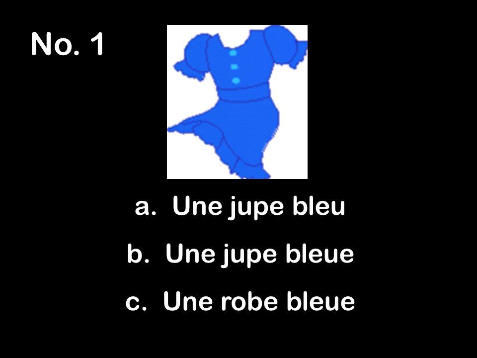 No. 1 a. Une jupe bleu b. Une jupe bleue c. Une robe bleue