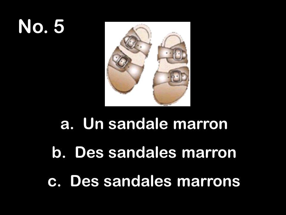 No. 5 a. Un sandale marron b. Des sandales marron c. Des sandales marrons