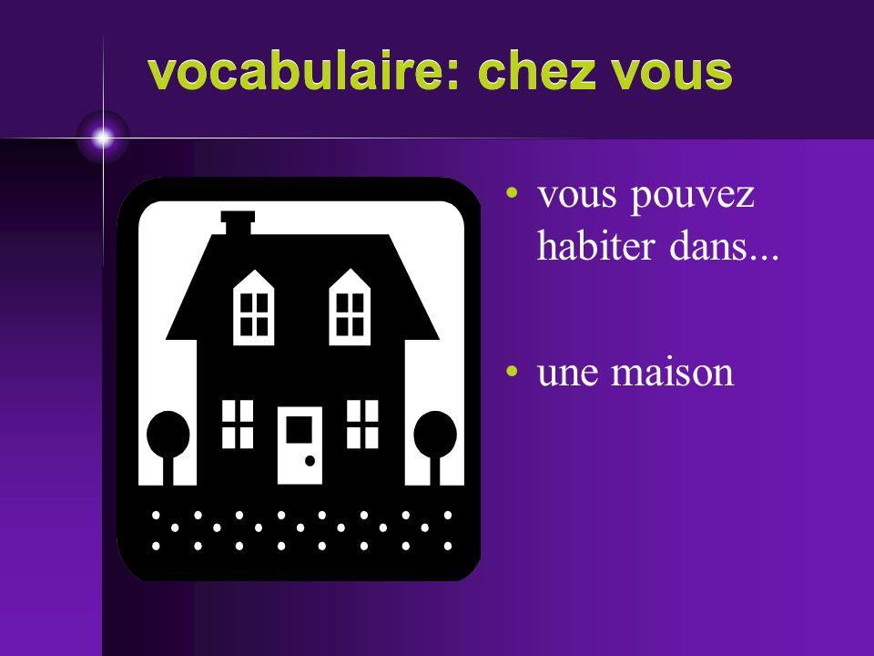 vocabulaire: chez vous vous pouvez habiter dans... une maison