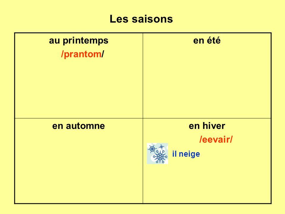 Les saisons au printemps /prantom/ en été en automneen hiver /eevair/ il neige