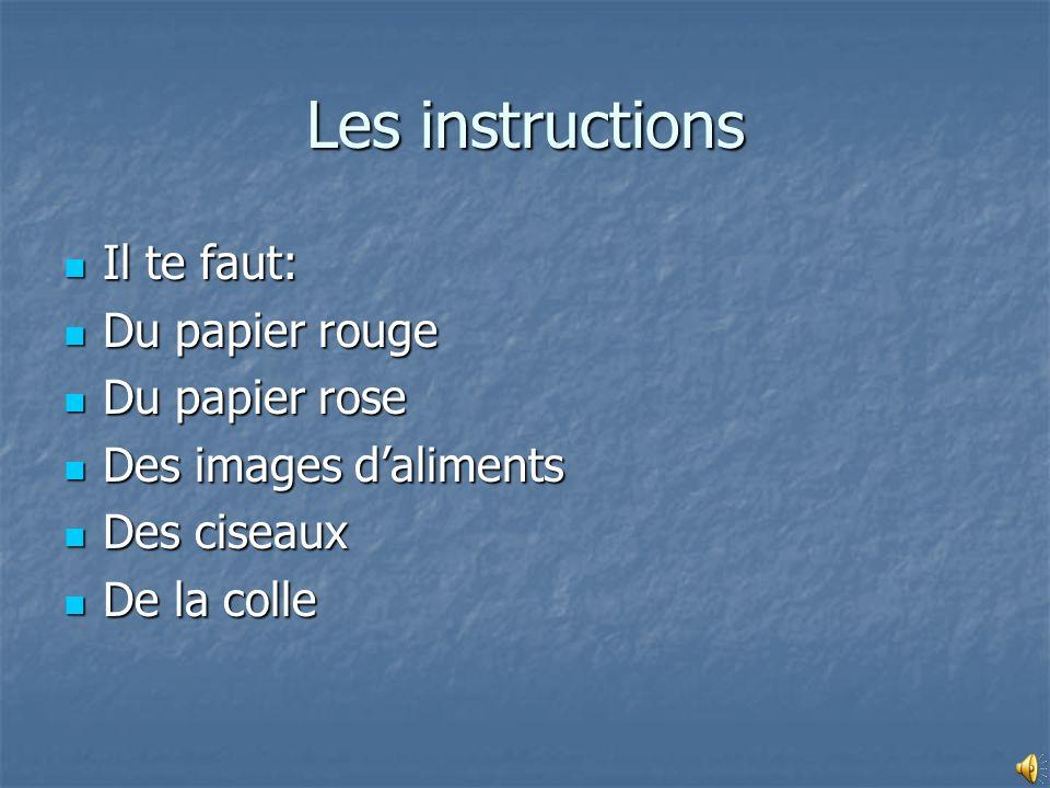 Les instructions Il te faut: Il te faut: Du papier rouge Du papier rouge Du papier rose Du papier rose Des images daliments Des images daliments Des c