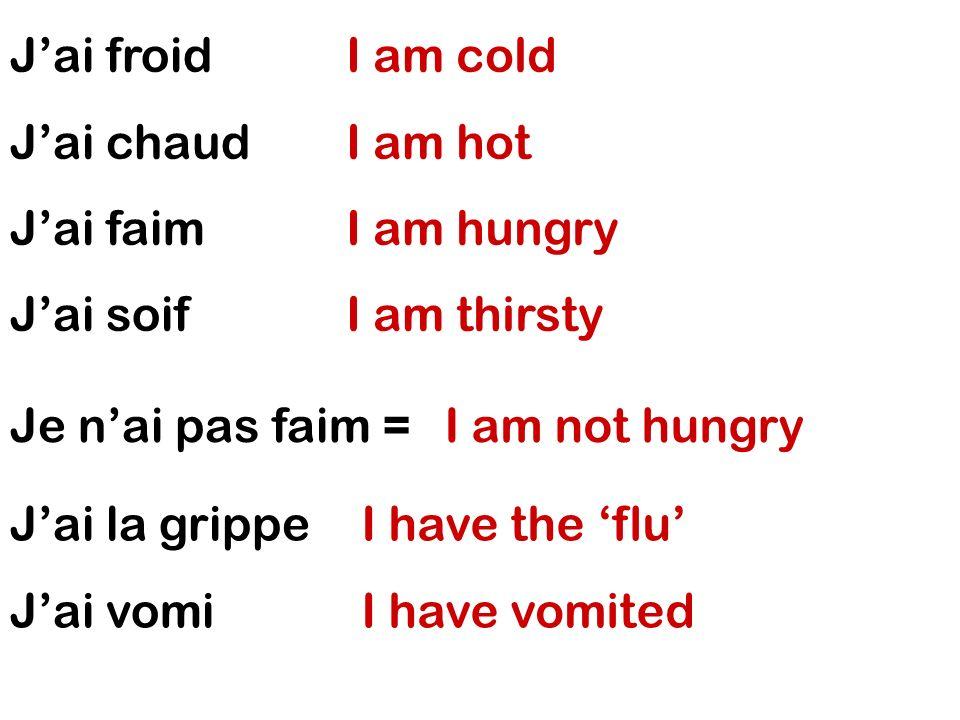 Je suis malade Je suis fatigué(e) Je suis enrhumé(e) Je me suis cassé(e) la jambe I am ill I am tired I am full of cold I have broken my leg