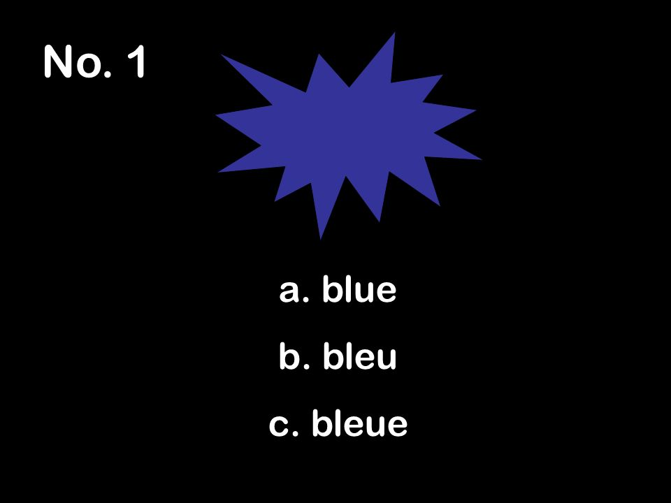 No. 1 a. blue b. bleu c. bleue