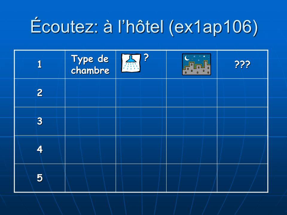 Écoutez: à lhôtel (ex1ap106) 1 Type de chambre ? ??? 2 3 4 5