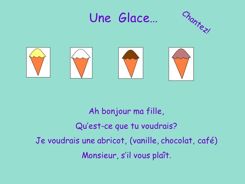 Vendeur de Glaces Chantez! Moi, je vends des glaces Dans le grand marché Abricot, vanille, Chocolat, café.