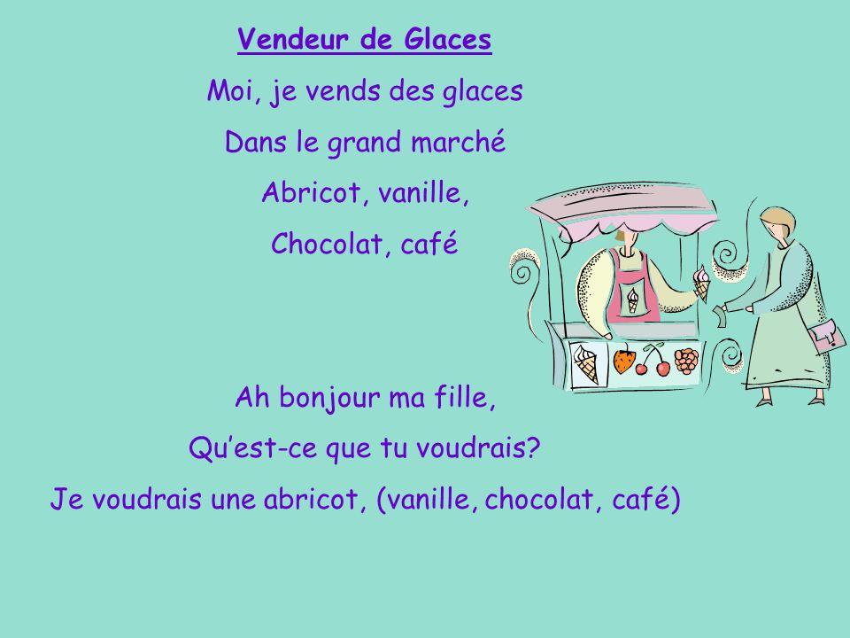 Une Glace… Chantez! Ah bonjour ma fille, Quest-ce que tu voudrais? Je voudrais une abricot, (vanille, chocolat, café) Monsieur, sil vous plaît.