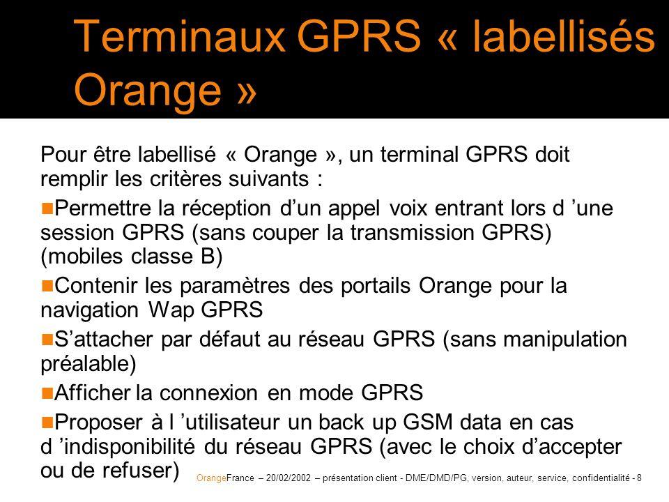 OrangeFrance – 20/02/2002 – présentation client - DME/DMD/PG, - 9 1er mobile GPRS Orange validé le Motorola P280 le coffret Motorola P280 > seul terminal validé Orange au lancement du GPRS > compatible et certifié Orange MIB > commercialisé depuis le 22/11/01 pour sa fonction tri-bande > nombre de canaux en réception + en émission : 4+1 > compatible WAP 1.1 et portail MIB > tri-bande; simlockage orange; infra-rouge > Pré-paramétré Orange MIB > les câbles de connexion PDA et PC sont vendus en accessoire les plus produit : permet de prendre un appel voix entrant lors d une session GPRS le Motorola P280 est déjà configuré pour un usage WAP