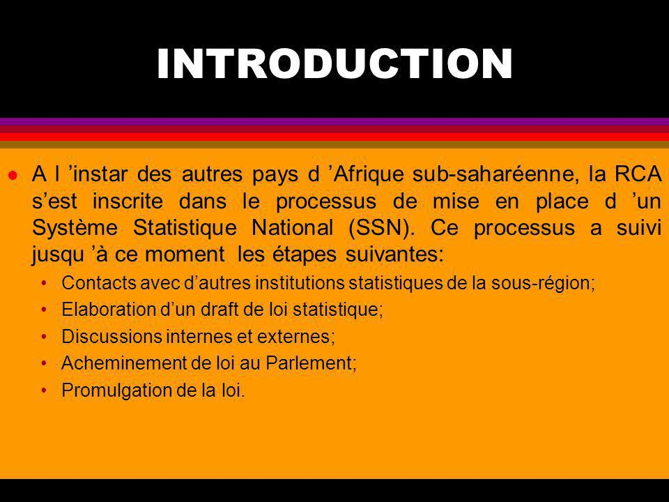 INSTITUT NATIONAL DE STATISTIQUE DE LA RCA présenté par le Directeur Général de la DGSEES Félix MOLOUA