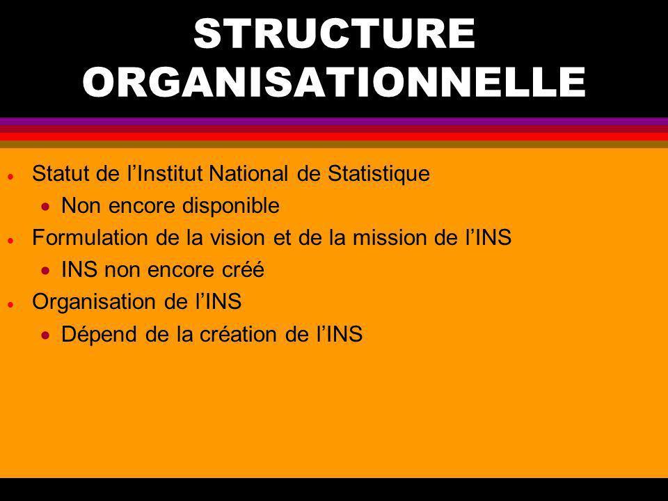 PLANIFICATION DES ACTIVITES STATISTIQUES l Existence dune stratégie nationale de développement de la statistique Document de SNDS/PDNS non encore disp