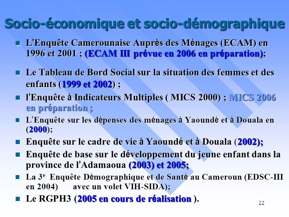 21 Etudes Ponctuelles Socio-économiques et socio-démographiques Socio-économiques et socio-démographiques Secteur informel Secteur informel Prix Prix