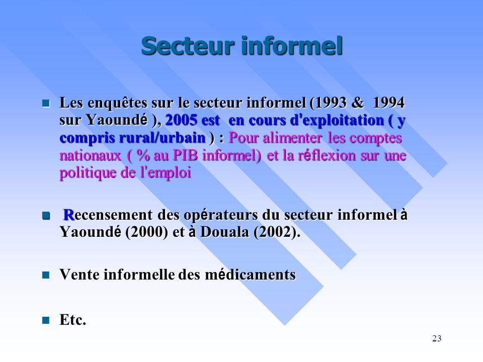22 Socio-économique et socio-démographique L Enquête Camerounaise Aupr è s des M é nages (ECAM) en 1996 et 2001 ; (ECAM III pr é vue en 2006 en pr é p