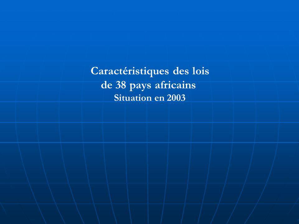 Caractéristiques des lois de 38 pays africains Situation en 2003