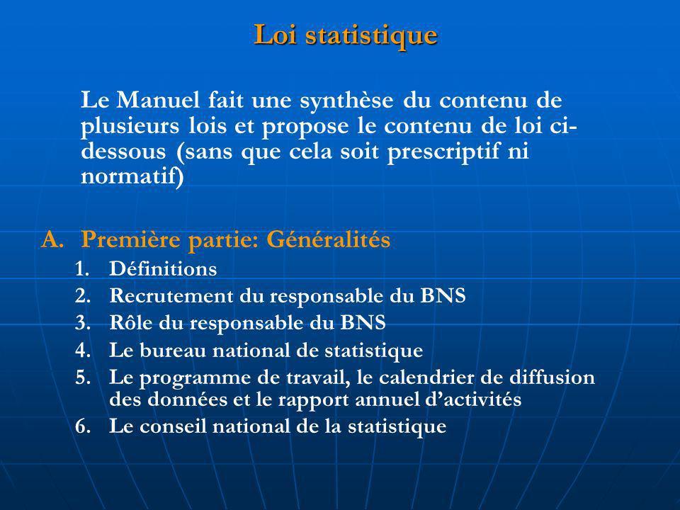 Loi statistique Le Manuel fait une synthèse du contenu de plusieurs lois et propose le contenu de loi ci- dessous (sans que cela soit prescriptif ni normatif) A.Première partie: Généralités 1.