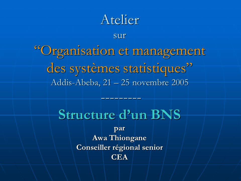 Atelier sur Organisation et management des systèmes statistiques Addis-Abeba, 21 – 25 novembre 2005 --------- Structure dun BNS par Awa Thiongane Cons