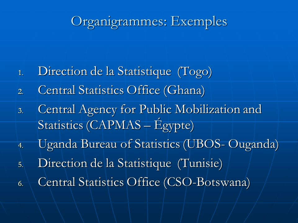 Organigrammes: Exemples 1. Direction de la Statistique (Togo) 2. Central Statistics Office (Ghana) 3. Central Agency for Public Mobilization and Stati