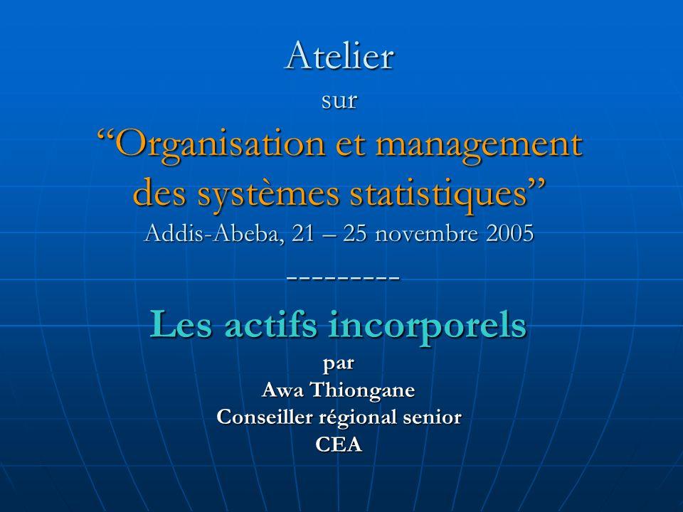 Atelier surOrganisation et management des systèmes statistiques Addis-Abeba, 21 – 25 novembre 2005 --------- Les actifs incorporels par Awa Thiongane Conseiller régional senior CEA